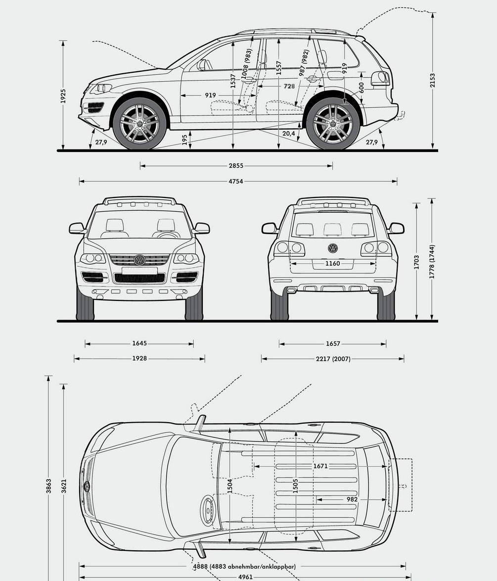 Размеры кузова Touareg 2008