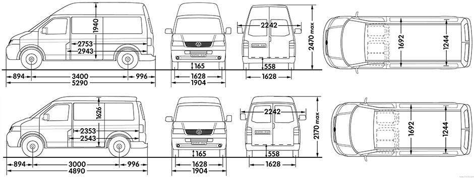 Высота машины фольксваген транспортер куплю ленточный транспортер