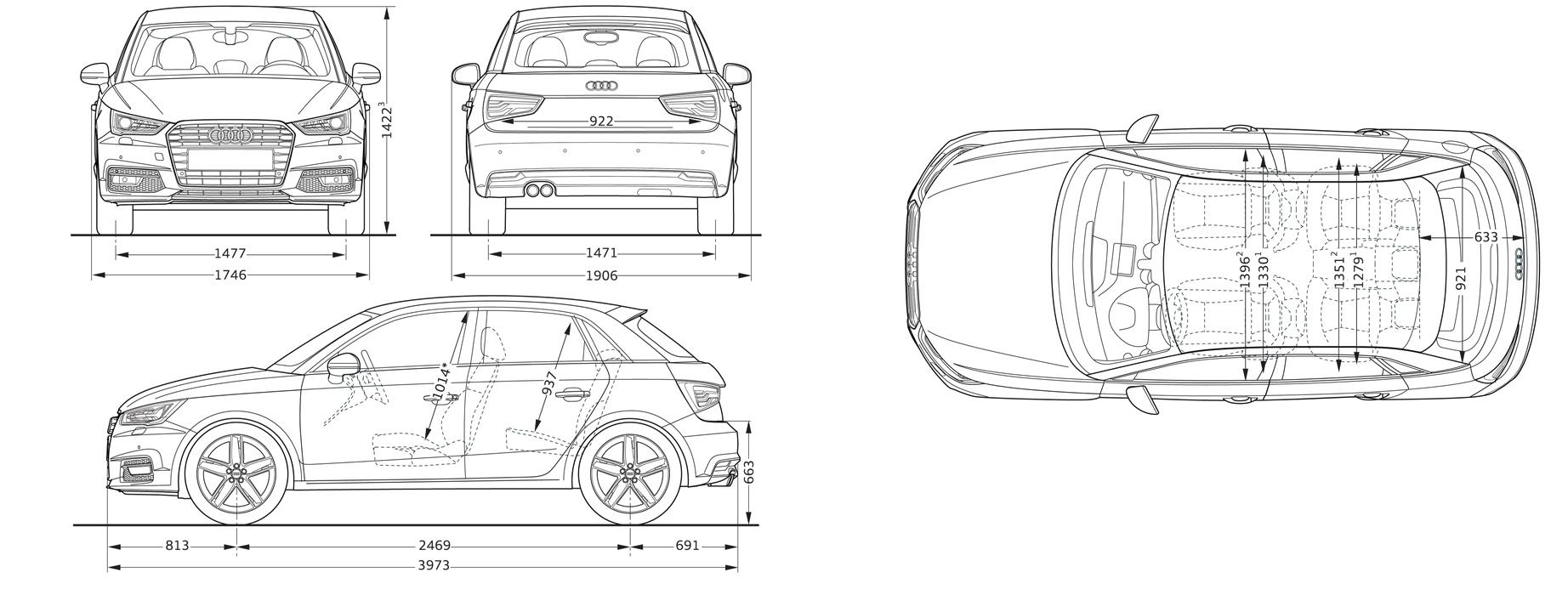Габариты хэтчбека Audi A1 5-дв.