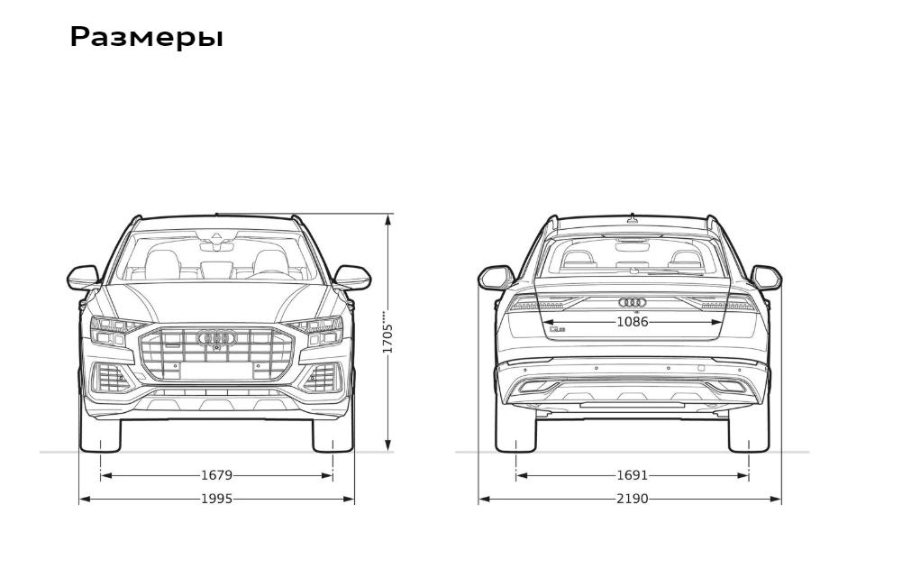 Размеры Ауди Ку8 (вид сзади и спереди) (1)