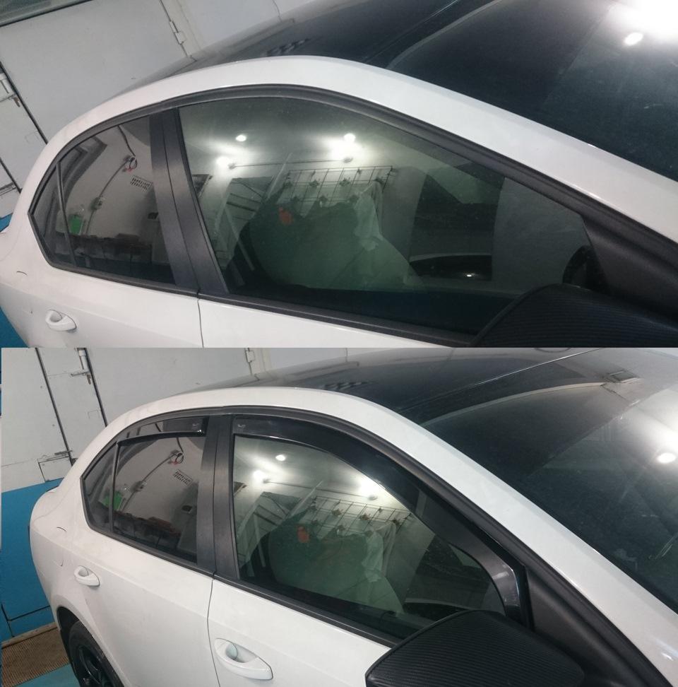 Дефлекторы окон на Шкода Октавия А7 - до и после